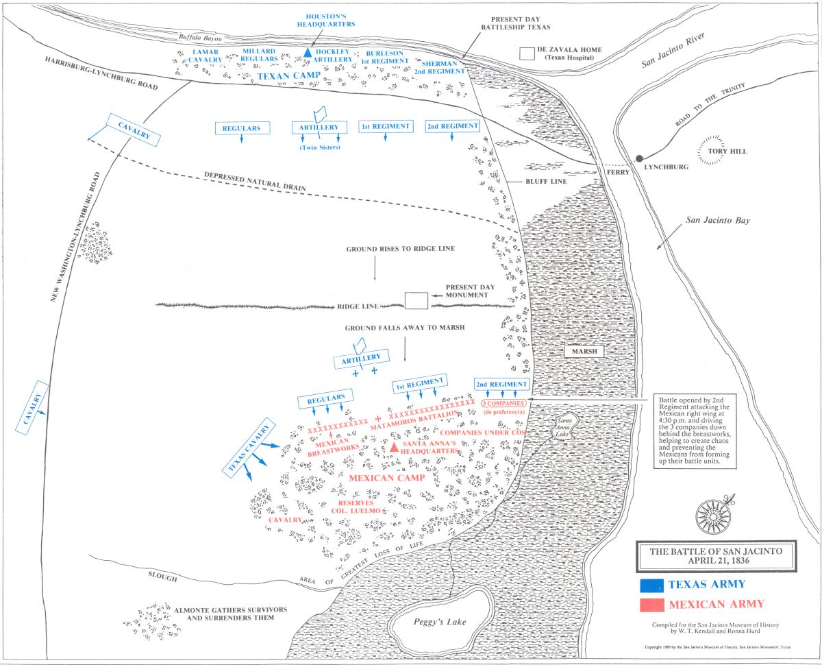 Maps Of The Battle Of San Jacinto Through The Years From Various