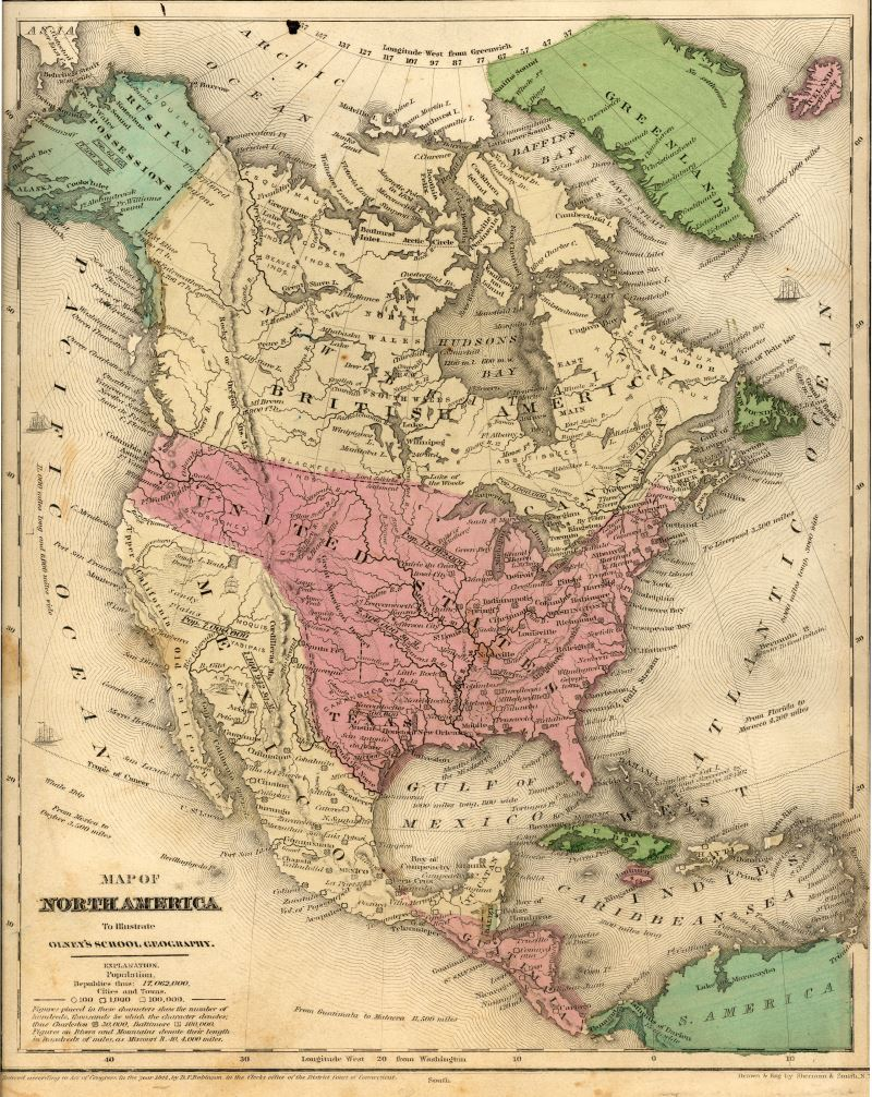 Map Of North America By Sherman Smith 1846 1848