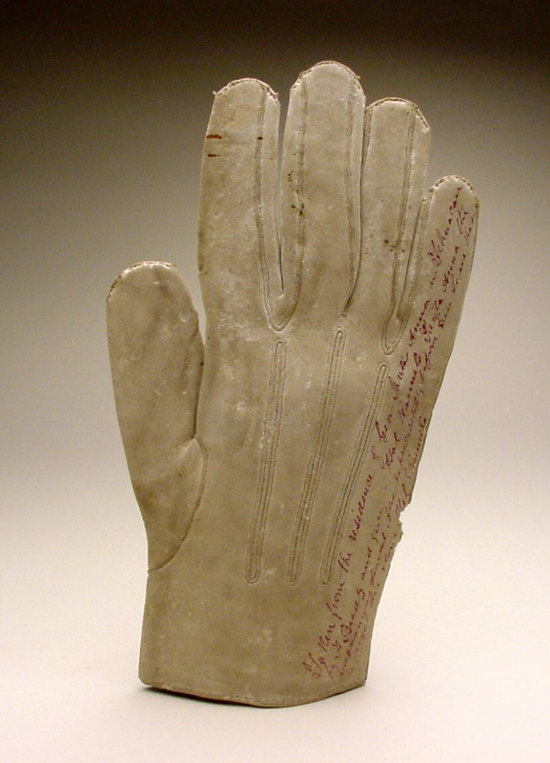 single white kid glove taken from the residence of general santa anna in tehuacan by