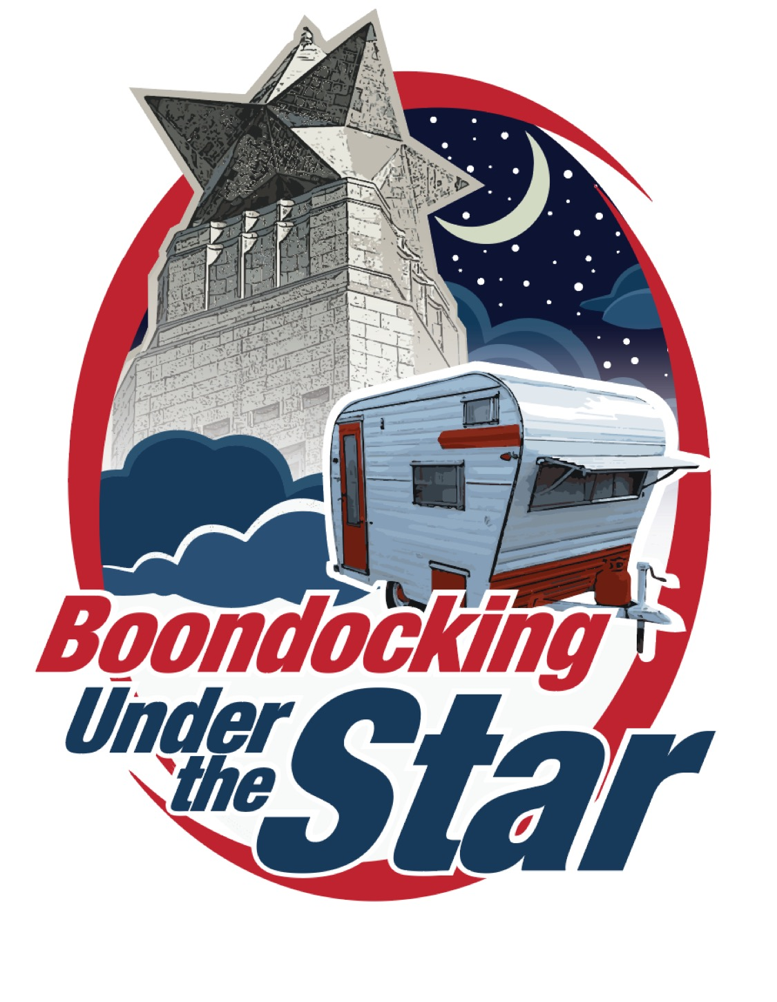 A logo showing a camper parked in front of the star from the top of the San Jacinto Monument, with a sickle moon and stars in the sky.