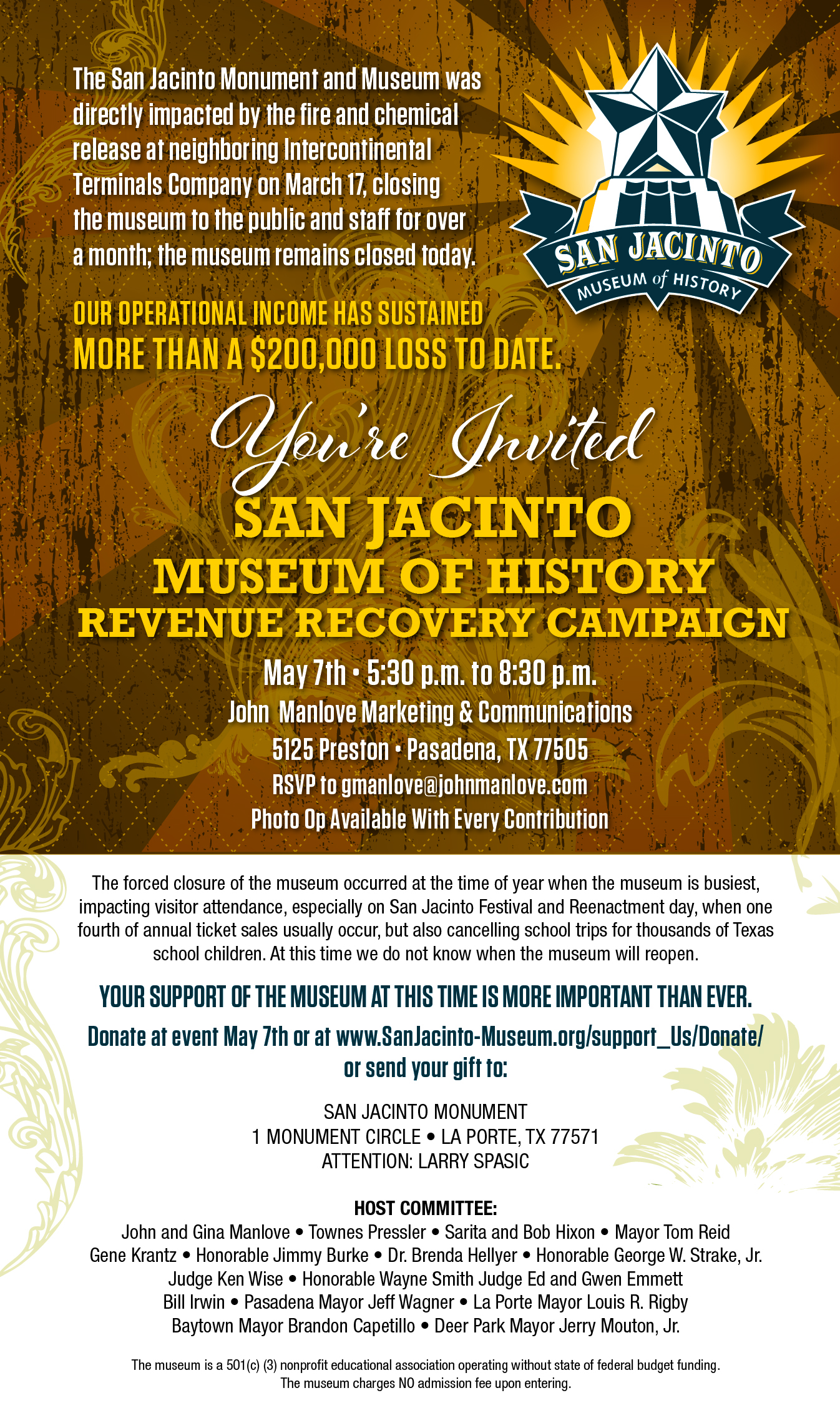 You're Invited San Jacinto Museum of History Revenue Recovery Campaign