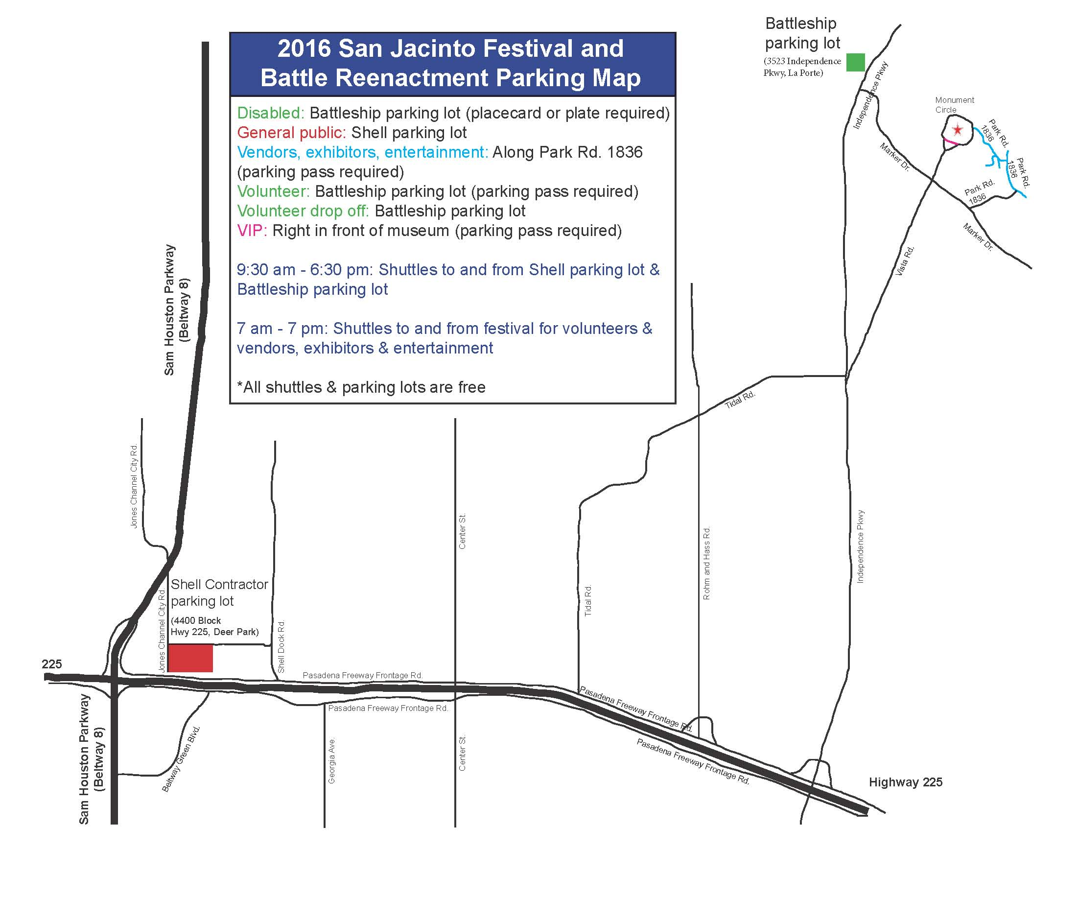 Map showing location of parking for the 2016 San Jacinto Day Festival and Battle Reenactment