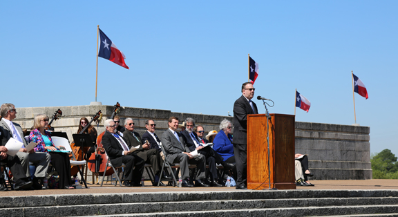 Ron Stone at the podium, San Jacinto Day Ceremony 2015